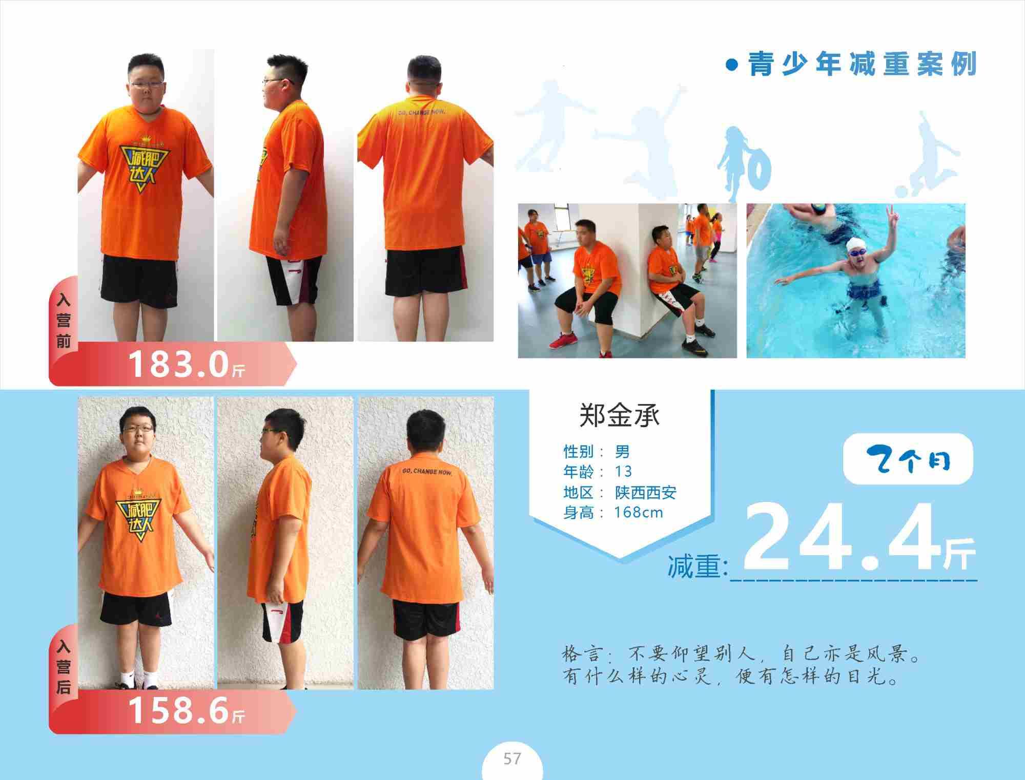 青少年减肥案例郑金承减重24.4斤